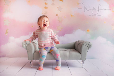Kate Twinkle Sky Cloud rainbow with the gold stars cake smash backdrop designed by Jerry_Sina