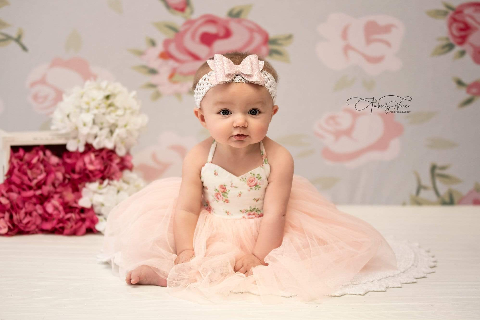 Load image into Gallery viewer, Katebackdrop:Kate Pink Flower White Background Pattern Baby Photography Backdrop