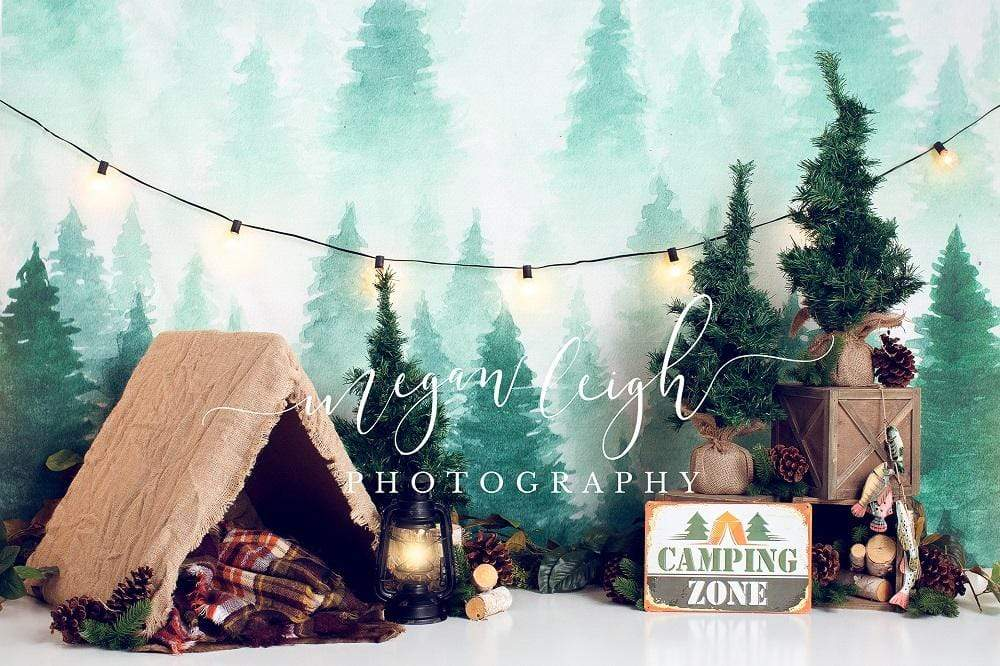 Load image into Gallery viewer, Katebackdrop£ºKate Forest Camping Tent and Lamp Children Summer Backdrop for Photography Designed by Megan Leigh Photography