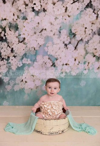 Katebackdrop:Kate Retro Style Green With White Flowers Backdrops