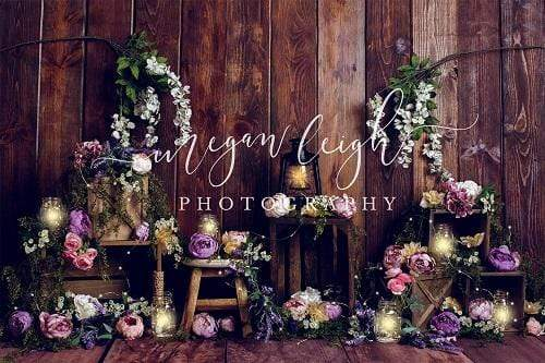 Katebackdrop:Kate Lamps Art Floral Wooden Backdrop for Photography Designed by Megan Leigh Photography