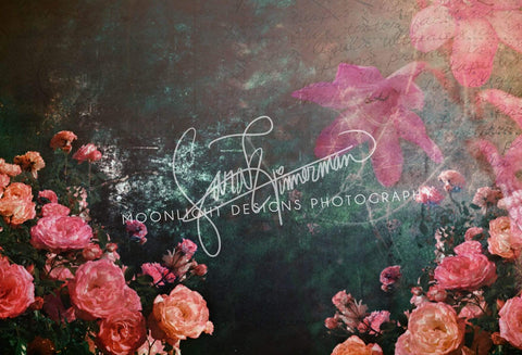 Kate Vintage Floral Writing Backdrop for Photography Designed by Sarah Timmerman