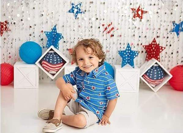 Load image into Gallery viewer, Kate 4th of July Banner Independence Day Backdrop for Photography Designed by Lisa B
