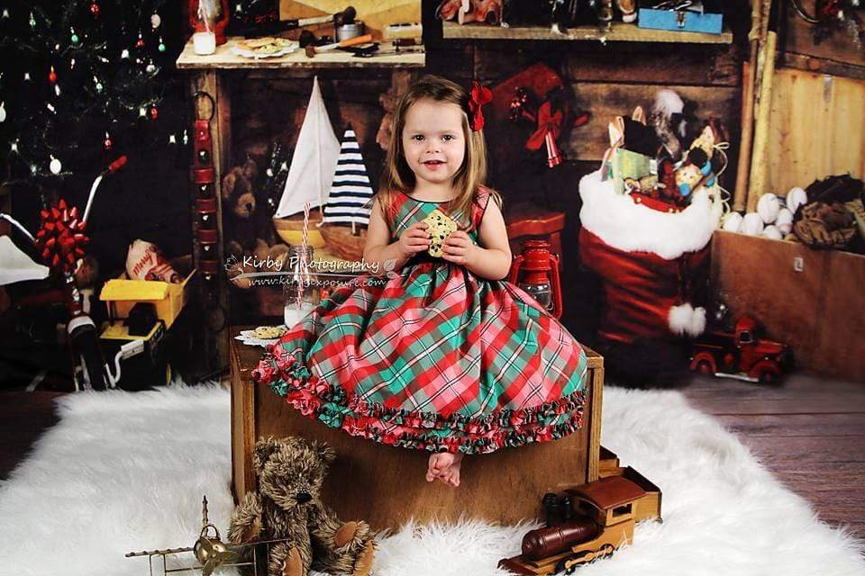 Katebackdrop:Kate Christmas Santas Workshop Backdrop designed by Arica Kirby