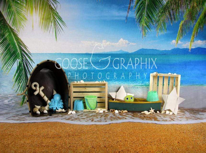 Katebackdrop£ºKate Seawater Beach with Sand for Children Playing Backdrop for Photography Designed By Amanda Moffatt