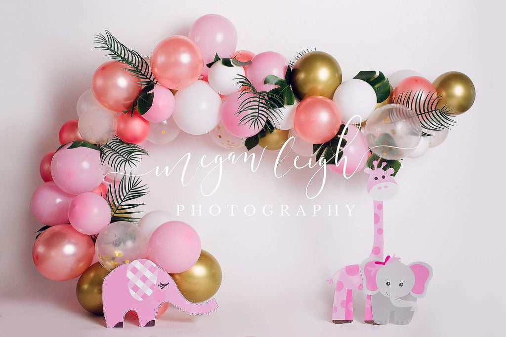 Katebackdrop£ºKate Pink Safari Birthday Children Backdrop for Photography Designed by Megan Leigh Photography