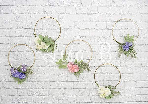 Kate Plain Wreath White Brick Backdrop for Photography Designed By Lisa B
