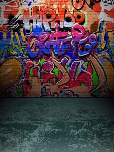 Katebackdrop:Kate Teenager Graffiti Wall Grey Brick Floor Backdrop