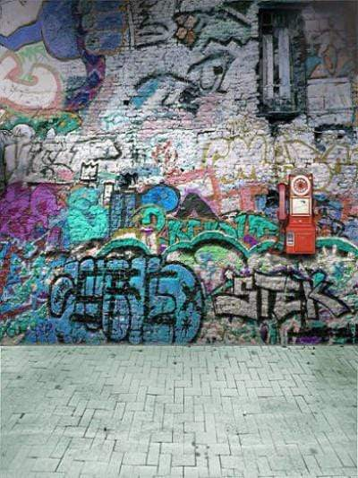 Katebackdrop:Kate Broken Walls Printed For Children Graffiti Photography Backgrounds