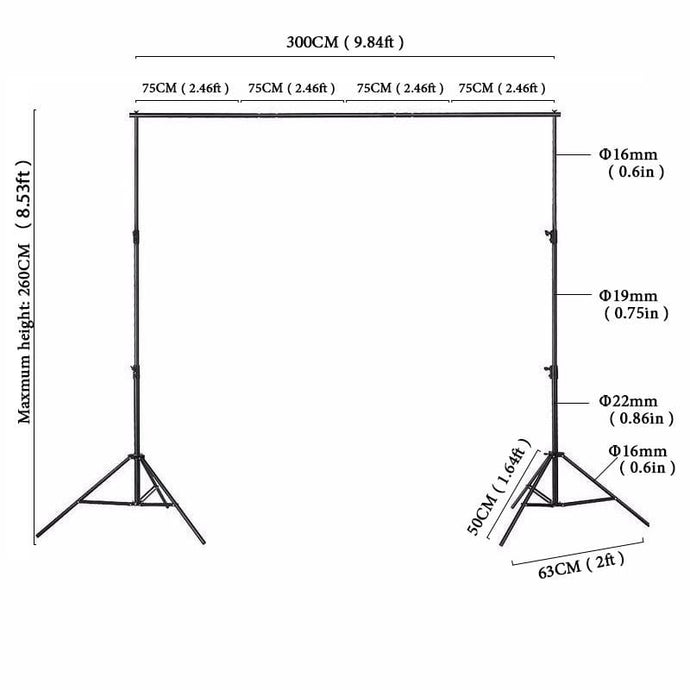 Kate Backgrounds Stand Equipment Black Framework Manual Aluminum - Katebackdrop