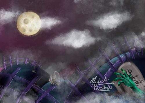 Katebackdrop:Kate Halloween Hills Backdrop Designed by Modest Brushes