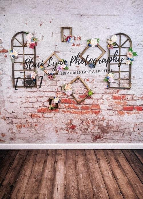 Kate Floral Frames Vertical Backdrop Designed by Stacilynnphotography