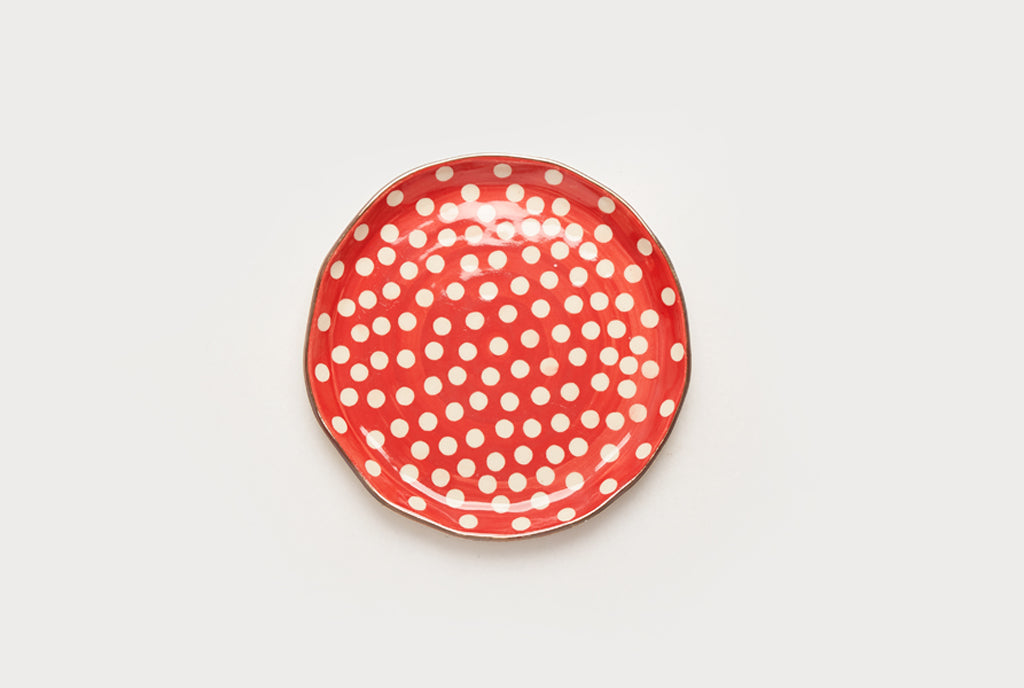 "Polka Club 7"" Plate - Red"
