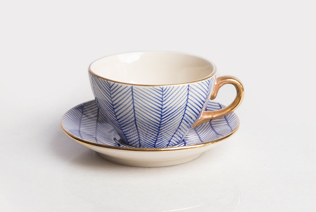 Chevron Cup & Saucer Set of 2  - Blue