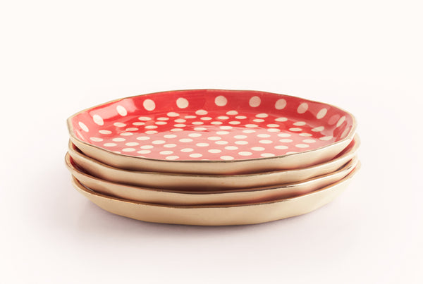 "Polka Presidential 10"" Plate - Red"