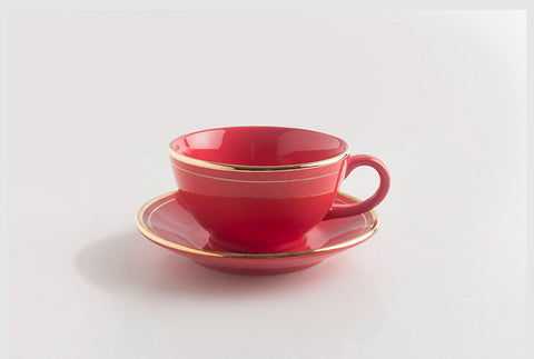 Tea Cup & Saucer -Margaret Red