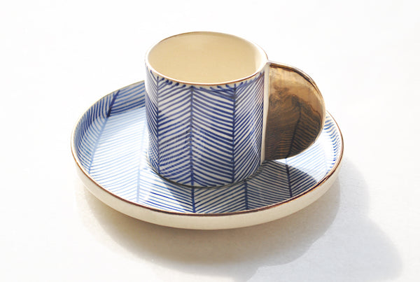Polka Dotted Blue Chevron Espresso Cup & Saucer - Set of 2