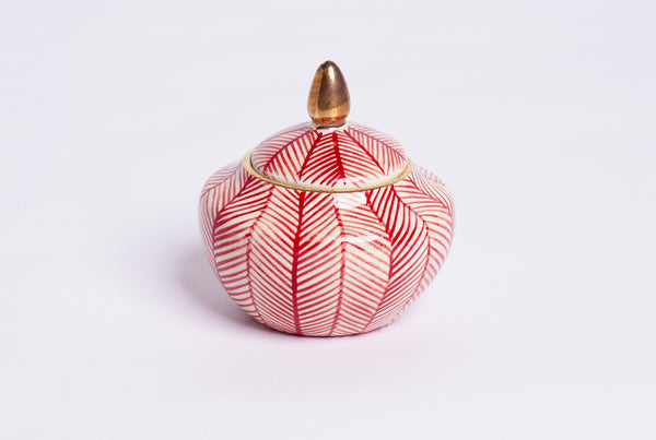 Chevron Sugar Pot - Red