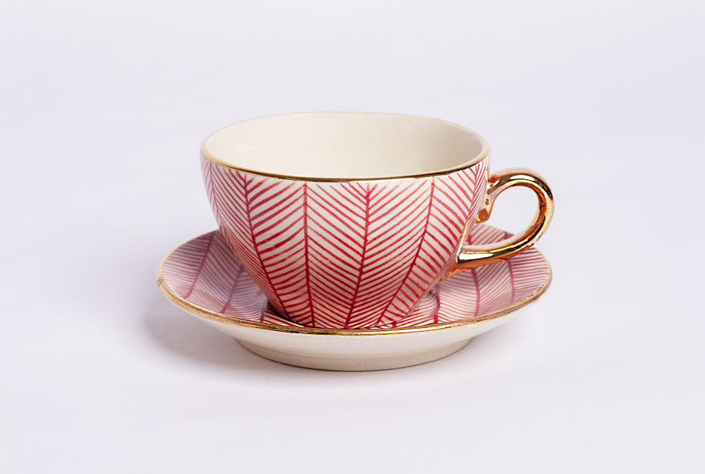 Chevron Cup & Saucer Set of 2 - Red