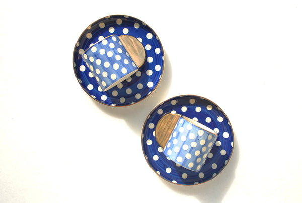 Club Polka Blue Dotted Espresso Cup & Saucer - Set of 2