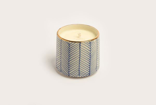 Chevron Fresh Mint & Lavender Candle - Blue
