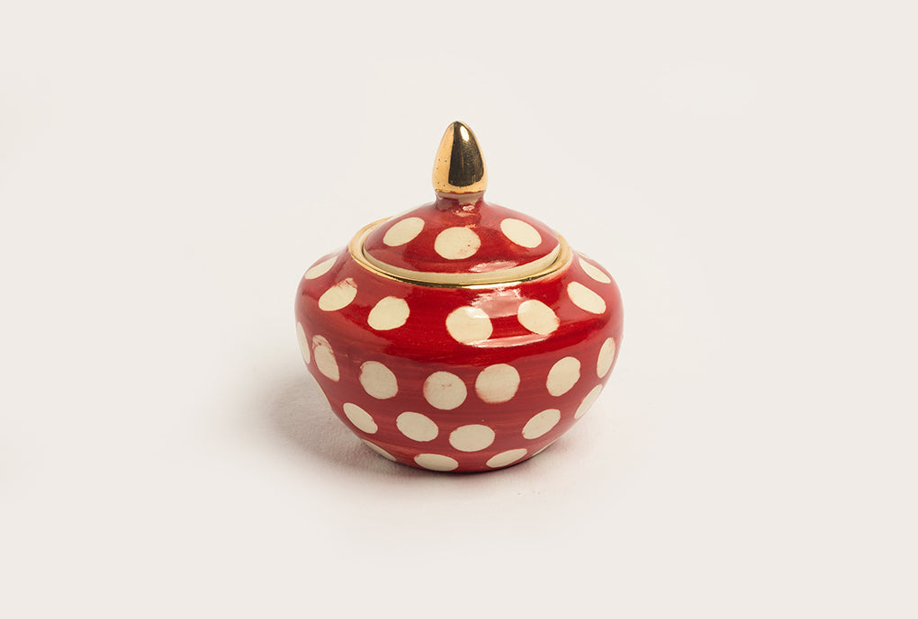 Polka Sugarpot - Red