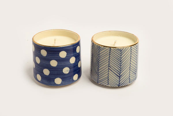Polka Fresh Mint & Lavender Candle - Blue