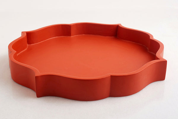 Vintage Wooden Tray – Tangerine