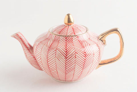 Chevron Teapot - Red