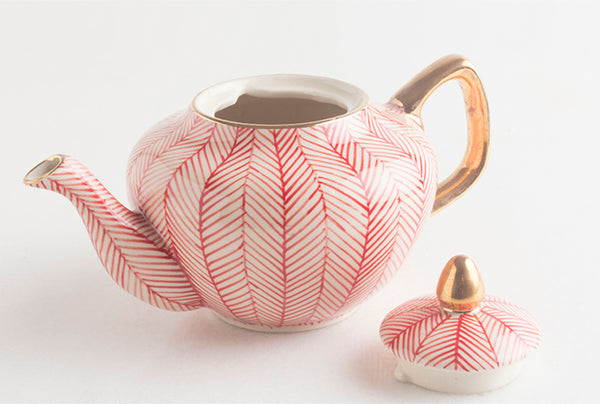 Chevron Red Teapot