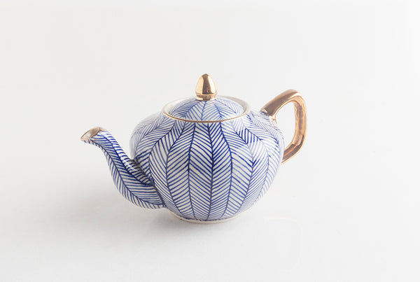 Chevron Blue Teapot