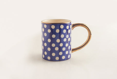Polka Coffee Mug - Blue