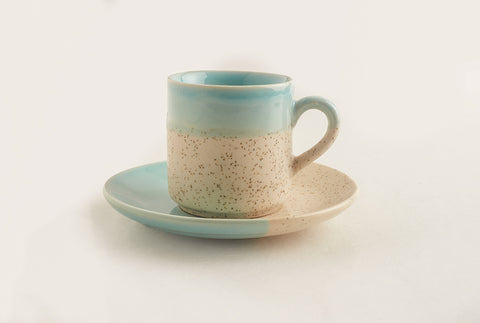 Pool side Expresso Mug and Saucer - Beach