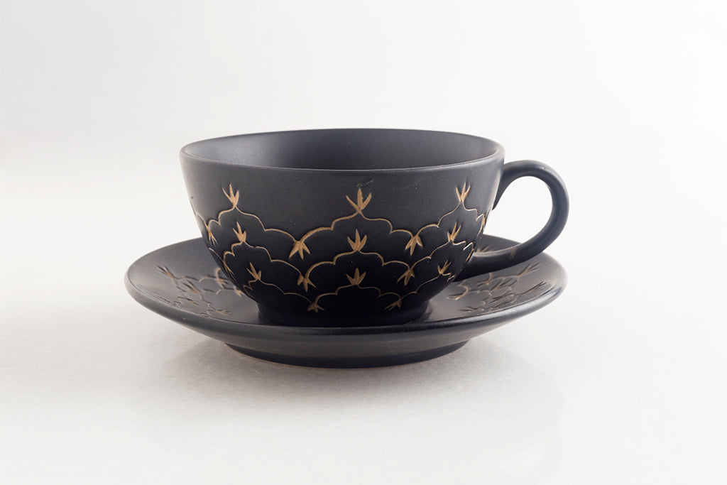 Temple Tea Cup & Saucer- Matte Black
