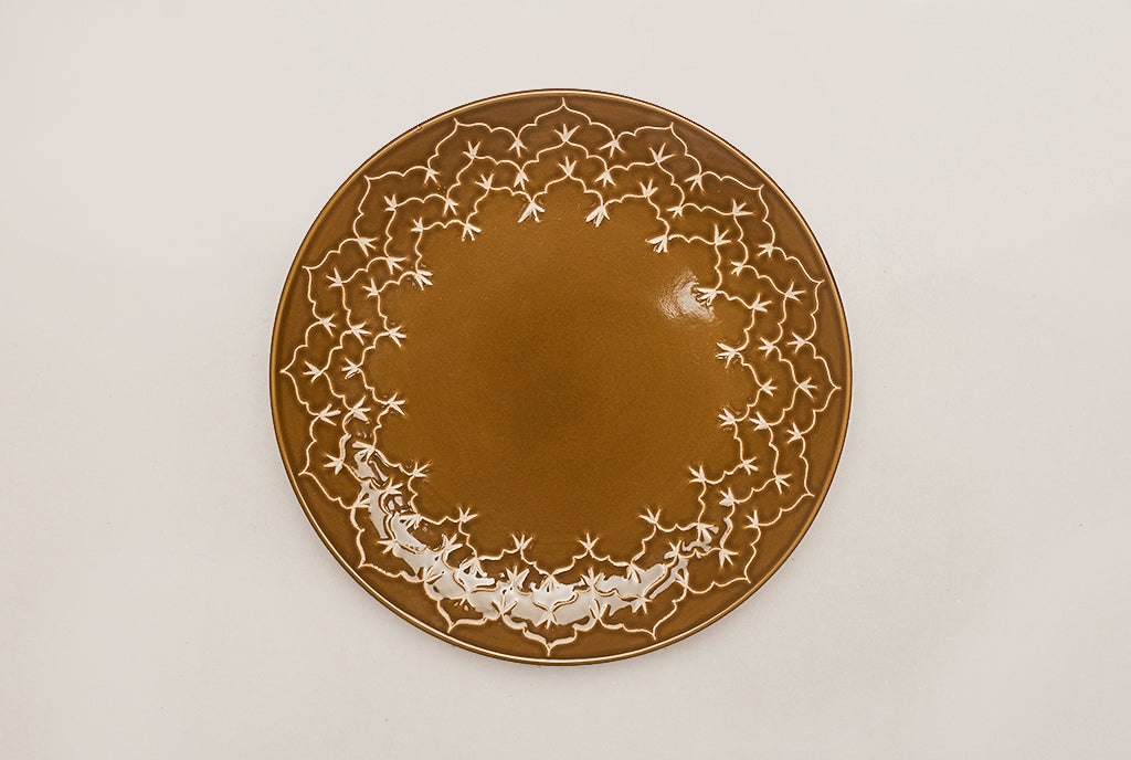 Temple Dinner Half Plates- Copper Green