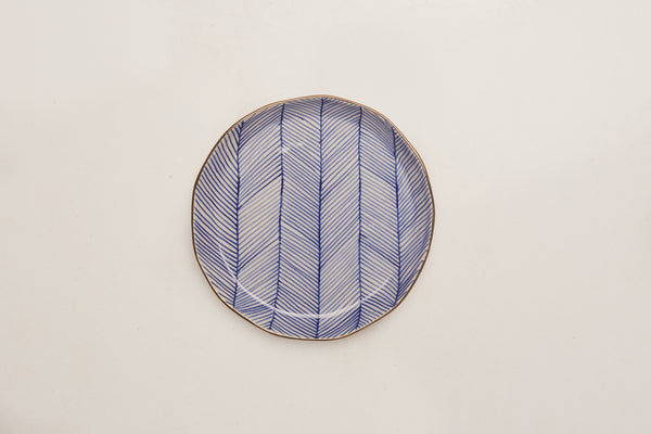 "Chevron Club 7"" Plate - Blue"
