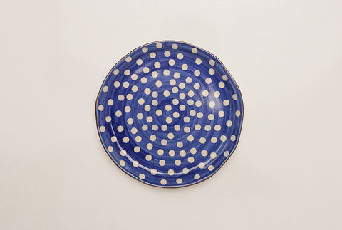 Polka Dotted Blue Quarter Plates - Set of 4