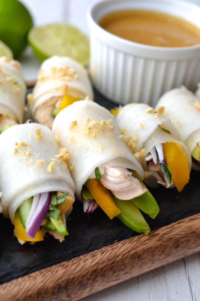 Chicken, Avocado and Mango Rolls