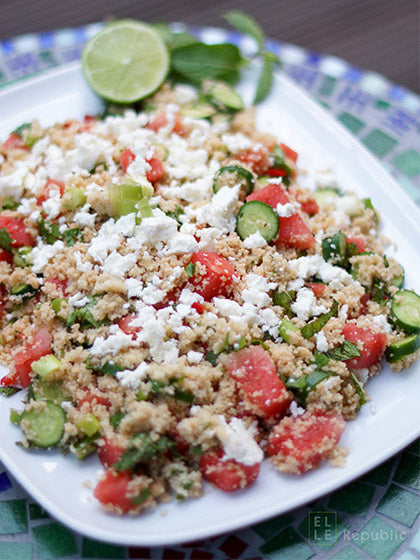 Minted Couscous Salad with Watermelon and Baby Cucumber