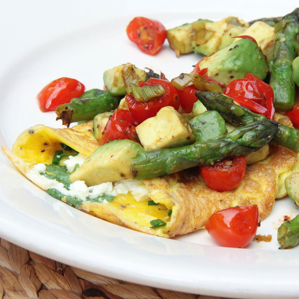 Fresh Herb and Feta Omelette with Warm Avocado, Cherry Tomato and Asparagus Salsa