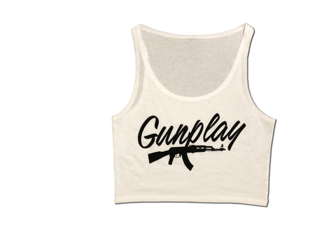 AK-47 Crop Top - White/Black