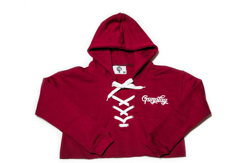 GunPlay Lace-up Cropped Hoodie