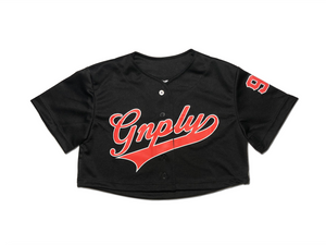 Crop Baseball Jersey - Black