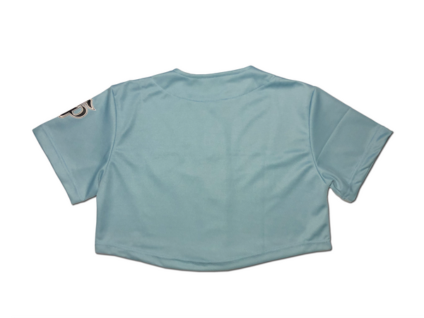 Crop Baseball Jersey - Light Blue