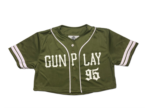 Crop Baseball Jersey - Olive