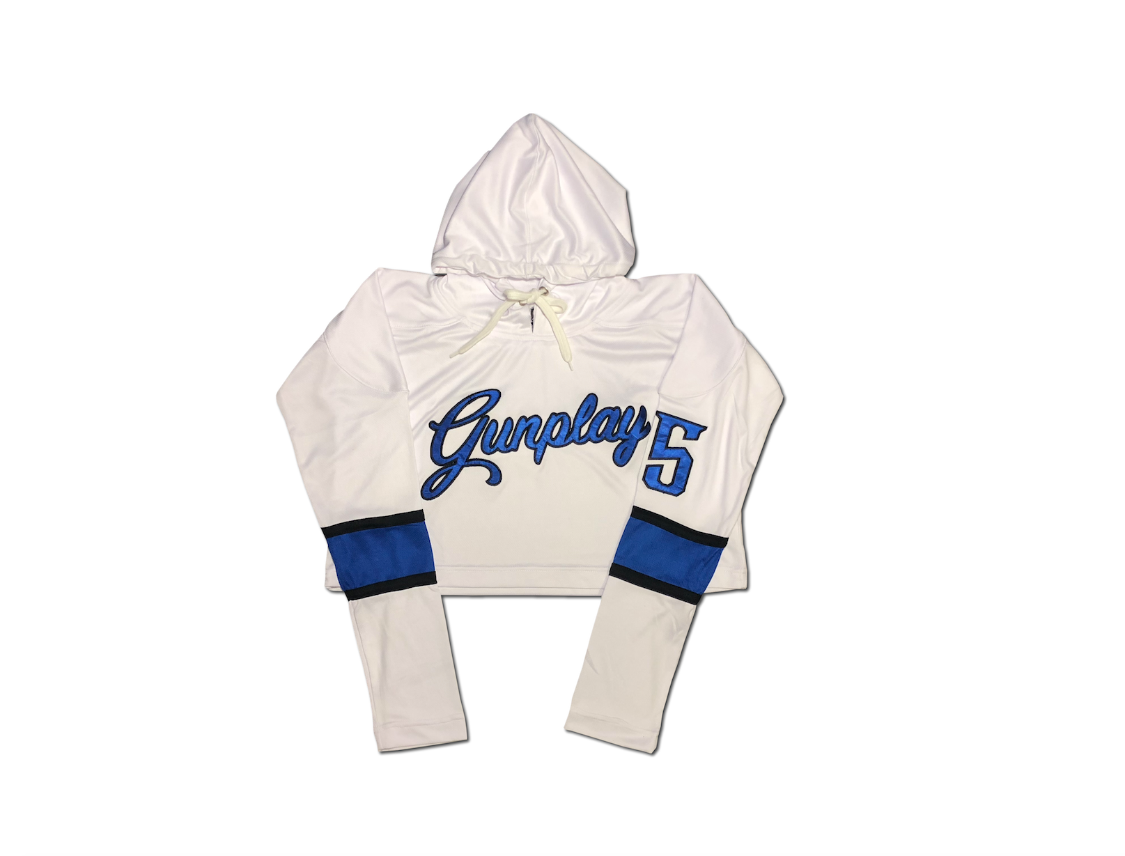 Royal Crop Hockey Jersey - White/Royal Blue/Black