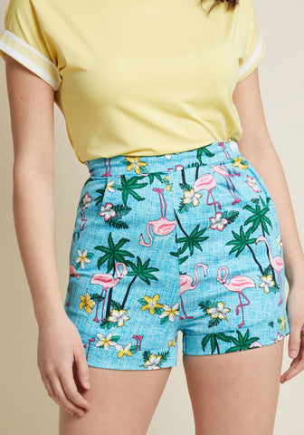 Copy of Collectif x MC Charming Chat High-Waisted Shorts in Flamingo Size 18