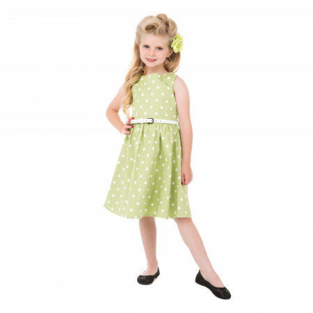 Mini Audrey' Children's Tarragon Polka Dot Dress size 11 to 12 yrs