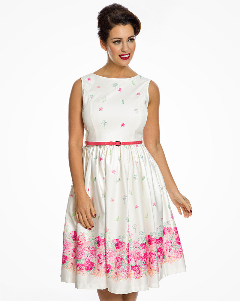 4719a385611  Audrey  Cream Floral Border Print Swing Dress size 8 – Wendy Lou   Her  Little Ladies