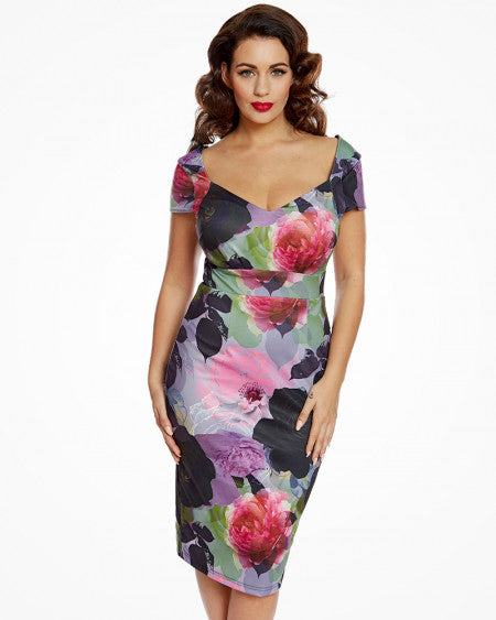 Cadyna Black Rose Print Pencil Dress